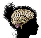 Cervello della siluetta della donna Fotografie Stock