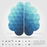 Cervello destro e sinistro sul modello di concetto e sulla geometria della forma libera Fotografie Stock