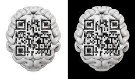 Cervello di codice di QR Fotografia Stock