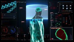 Cervello di esame nel corpo maschio nel cruscotto del visualizzatore digitale vista dei raggi x illustrazione di stock