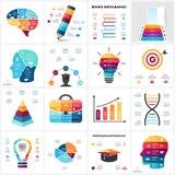 Cervello di istruzione di vettore infographic Diagramma di mente umana del modello, grafico di conoscenza, presentazione creativa Immagini Stock Libere da Diritti