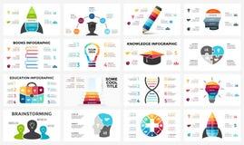 Cervello di istruzione di vettore infographic Modello per il diagramma di mente umana, grafico di conoscenza, presentazione creat Fotografia Stock Libera da Diritti