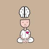 Cervello di meditazione dell'uomo illustrazione di stock