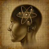 Cervello di simbolo della molecola dell'atomo vecchio Fotografia Stock