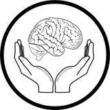 Cervello di vettore nell'icona delle mani fotografia stock libera da diritti