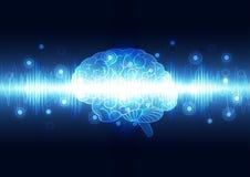 Cervello digitale astratto, vettore del fondo di concetto di tecnologia illustrazione di stock