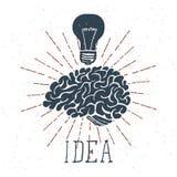 Cervello disegnato a mano con l'iscrizione di idea e la lampadina Vettore illustrazione vettoriale