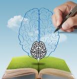 Cervello disegnato a mano del pixel come concetto Immagine Stock Libera da Diritti