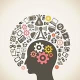 Cervello e tecnologia Fotografia Stock