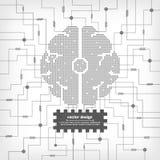Cervello elettrico del circuito di vettore Immagini Stock