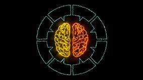 Cervello 001 - neon di Infographic 4K illustrazione vettoriale