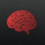 Cervello, timbrato in metallo lucidato Immagini Stock Libere da Diritti