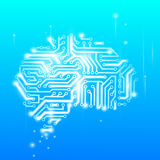 Cervello umano come chip di computer Immagini Stock
