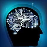 Cervello umano come chip di computer Fotografia Stock Libera da Diritti