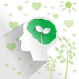 Cervello umano con il pensiero dell'ambiente illustrazione di stock