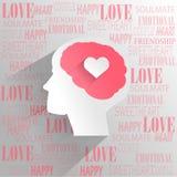 Cervello umano con il pensiero di emozione di amore illustrazione di stock