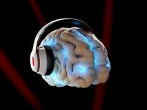 Cervello umano con le cuffie su fondo nero, illustrazione 3D royalty illustrazione gratis