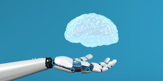 Cervello umano della mano del robot royalty illustrazione gratis