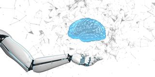 Cervello umano della mano del robot illustrazione di stock