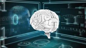 Cervello umano e codici binari royalty illustrazione gratis