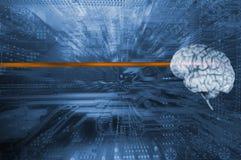 Cervello umano e comunicazione, intelligenza artificiale Fotografia Stock