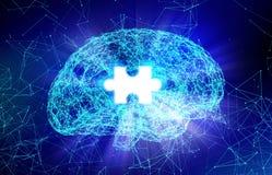 Cervello umano e puzzle per la malattia del ` s di Alzheimer nella forma Fotografie Stock Libere da Diritti