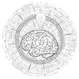 Cervello umano e una lampadina su fondo circolare tecnico Idea, ispirazione royalty illustrazione gratis