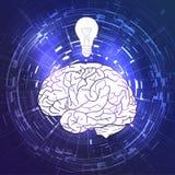 Cervello umano e una lampadina su fondo techno viola Idea, ispirazione illustrazione di stock
