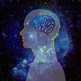 Cervello umano ed universo Fotografie Stock Libere da Diritti