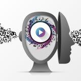 Cervello umano Mente creativa Concetto di musica genius Vettore illustrazione vettoriale
