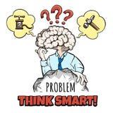 Cervello umano nel processo di pensiero Fotografia Stock Libera da Diritti