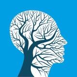 Cervello umano, pensieri verdi, illustrazione vettoriale