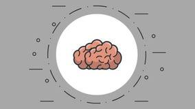 Cervello umano sul simbolo rotondo illustrazione vettoriale