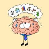 Cervello umano sveglio in legame, stanco sul lavoro d'ufficio royalty illustrazione gratis