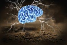 Cervello umano, tempesta, lampo di genio, confrontante le idee Fotografia Stock Libera da Diritti