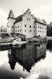 Cervena Lhota是在捷克共和国的一个美丽的大别墅,染黑  图库摄影