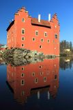 Cervena Lhota. Chateau reflecting in water, Czech Republic stock images