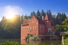 Cervena Lhota. Czech Republic. Castle on the lake.  royalty free stock photos