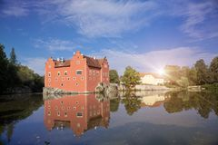 Cervena Lhota. Czech Republic. Castle on the lake.  stock images