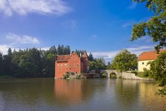 Cervena Lhota. Czech Republic. Castle on the lake.  stock image