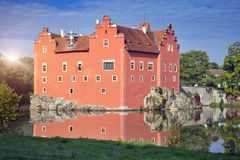 Cervena Lhota. Czech Republic. Castle on the lake.  stock photos
