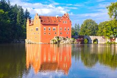 Cervena Lhota. Czech Republic. Castle on the lake.  royalty free stock images