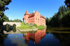 Cervena Lhota, Czech Republic. The red water castle, Cervena Lhota, and the beautiful stone bridge, South Bohemia, Czech Republic. A picturesque Renaissance stock photography