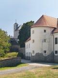 Cerveny卡梅尼火山城堡,斯洛伐克的设防 免版税库存图片