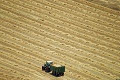 Cervera (Katalonien, Spanien), einsamer Traktor auf einem Gebiet Stockbilder