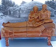 Cerveteri rome  Sarcophagus of the married sarcofago degli sposi  reproduction made by Stock Photos