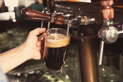 Cerveza de colada del camarero del golpecito en el vidrio en barra fotos de archivo