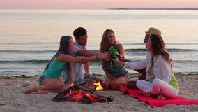 Cerveza de consumición de la gente joven el vacaciones metrajes