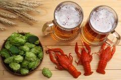 Cerveza de cristal con los cangrejos, los conos de salto y los oídos del trigo en fondo de madera ligero Concepto de la cervecerí imagenes de archivo