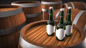 Cerveza de la botella y barril de madera libre illustration